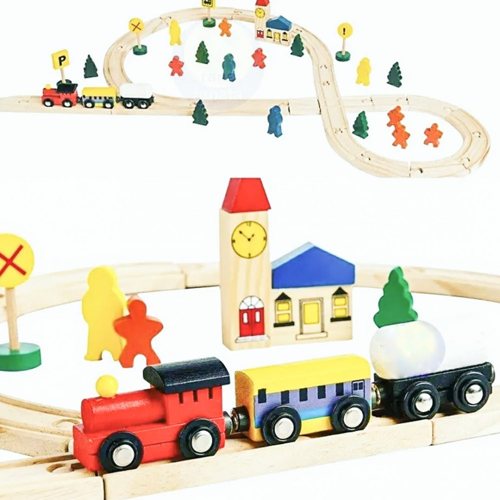 pista de tren madera cubeta 1