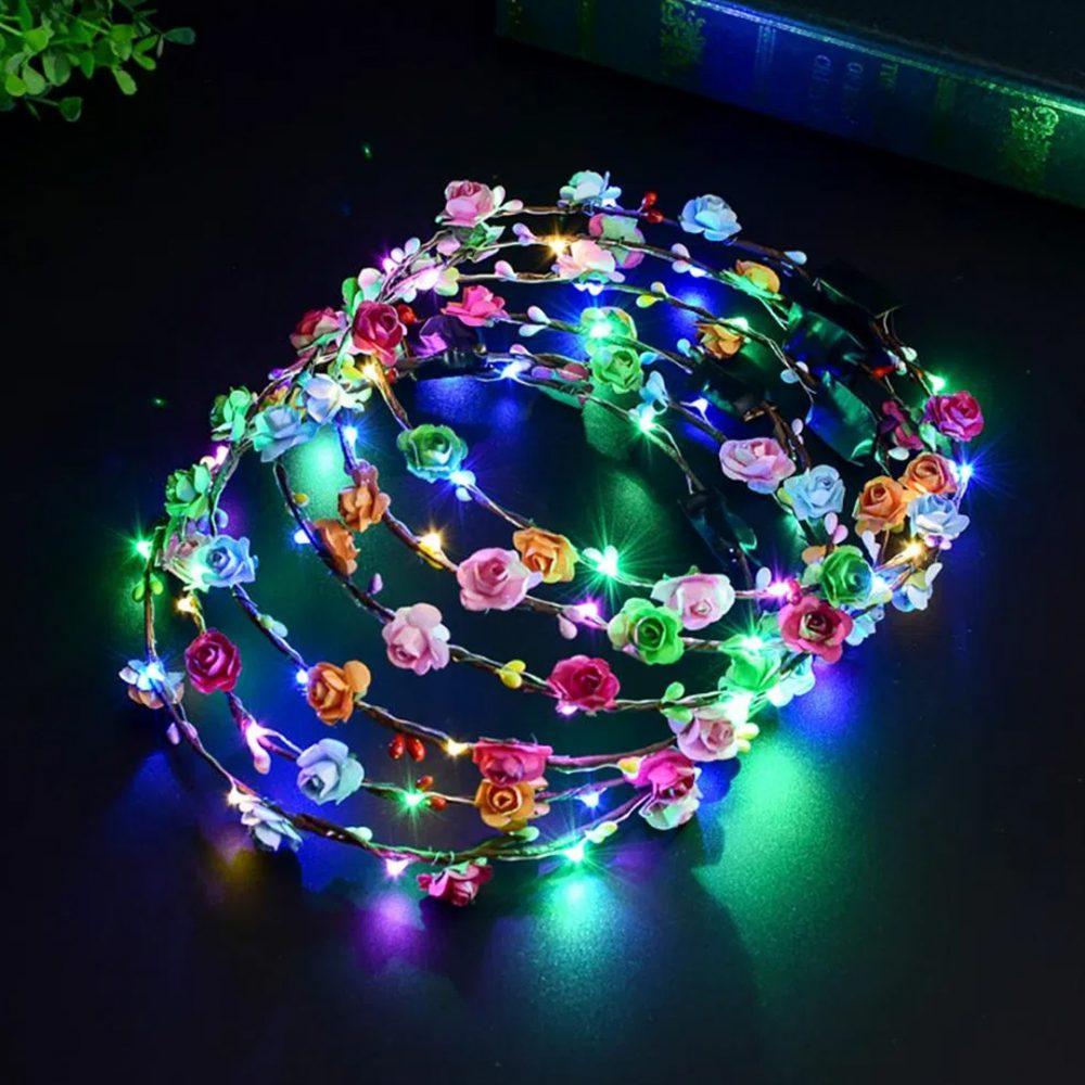 vincha led corona de flores 1