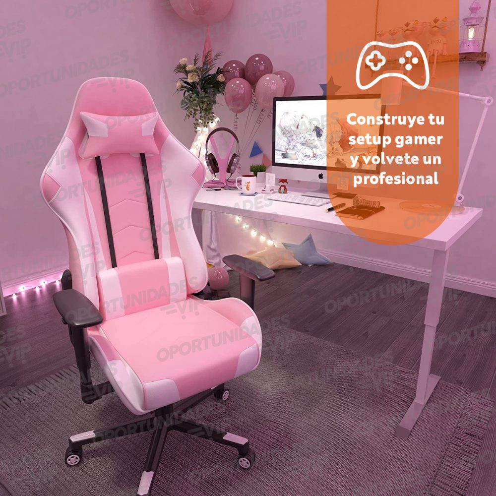 silla gamer rosa 4