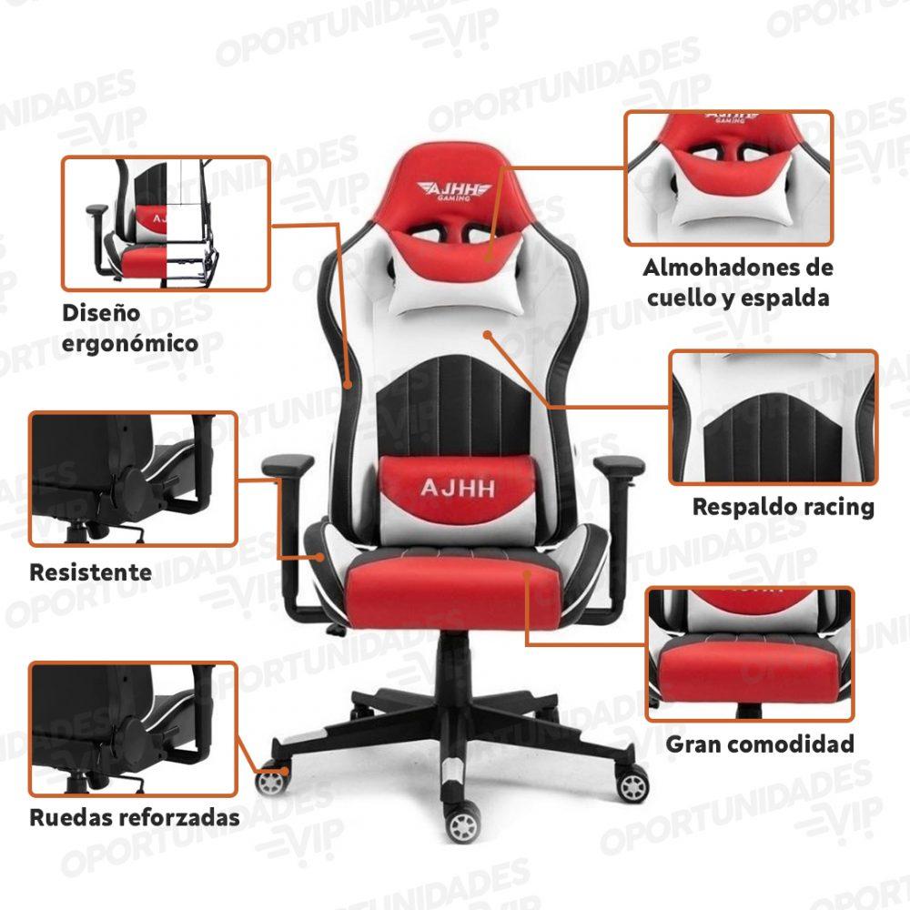 silla gamer ajhh blanco rojo 1