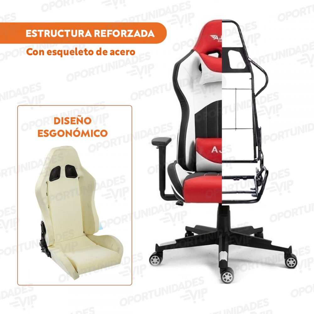 silla gamer ajhh blanco rojo 5