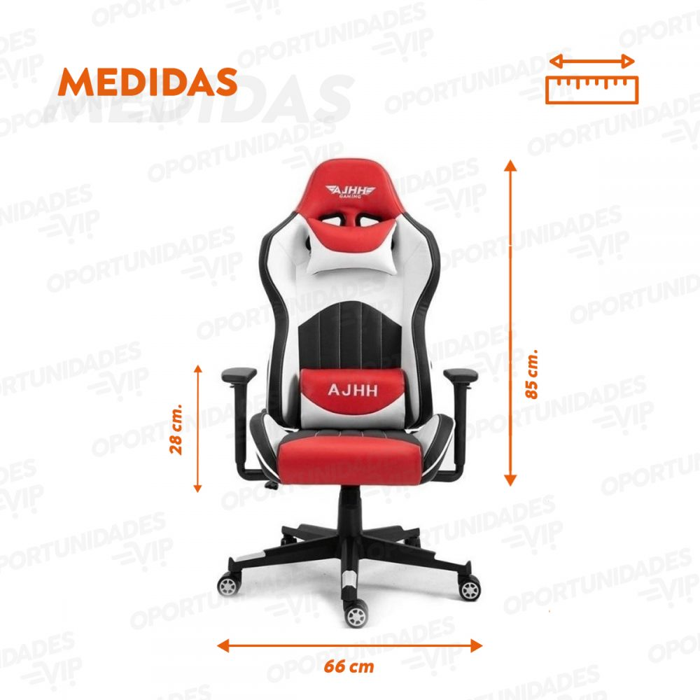 silla gamer ajhh blanco rojo 6