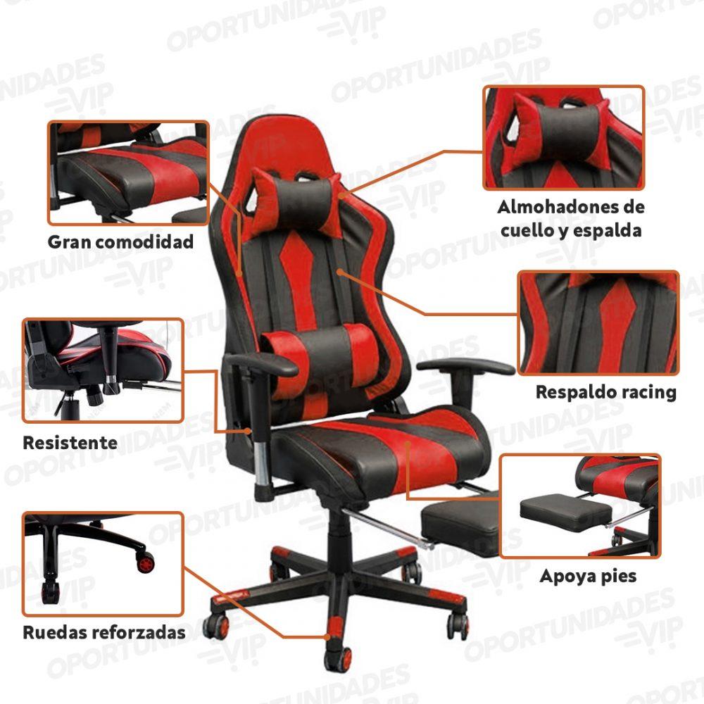 silla gamer fur gt000 rojo 5
